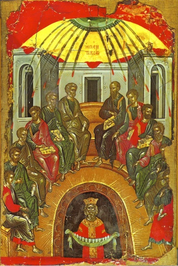 Icon of the Descent of the Holy Spirit upon the Holy Apostles on the Day of Pentecost
